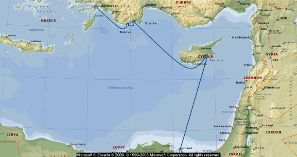 map of cyprus and turkey. Map of Mediterranean legs
